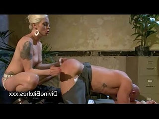 Blonde hottie flogs and fucks bound guy in office