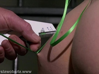 Needle decoration of slave Elise Graves in start of edge play session in Europea