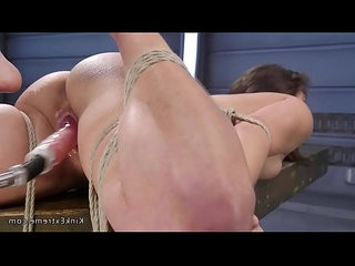 Tied up brunette gets a good fucking machine