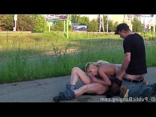 Extreme public street threesome sex with a cute blonde girl and hung guys