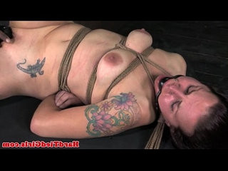 Frog tied submissive in orgasm denial