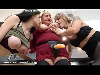 Busty babe fucked with strapon by stepmom and friend