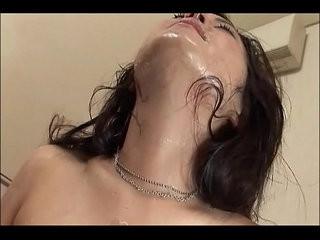 Peeling dried cum off face