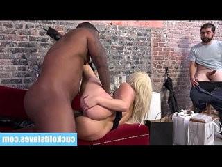 Cuckold kissing his wife sucking big black hard long cock
